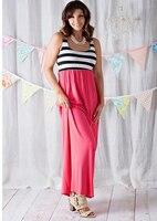 Stile di estate Outfit vestiti da madre figlia Famiglia Corrispondenza di Colore di Contrasto Rosa A-Line Dress Caviglia-Lunghezza madre e abbigliamento per bambini
