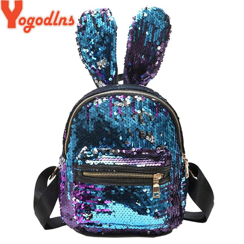 Yogodlns Women Sequins Backpack Cute Rabbit Ears Double Shoulder Bag Mini Backpacks Children Girls Sequined Travel Knapsack
