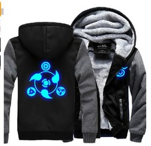 Naruto Hoodie New Anime Uchiha Sasuke Cosplay Coat Uzumaki Naruto Jacket Winter Men Thick Zipper Luminous Sweatshirts