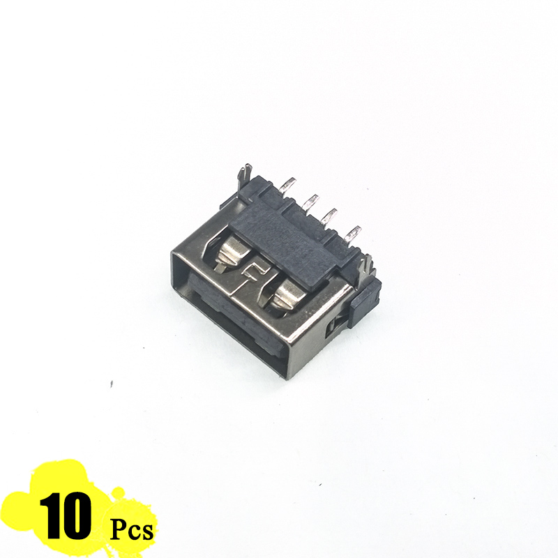 10Pcs/Lot USB Port 2.0 Type A Female 4 Pin 2 Feet 180 Degree Flat Charge Plug Socket Jack Connector Wire Adapeter DIP