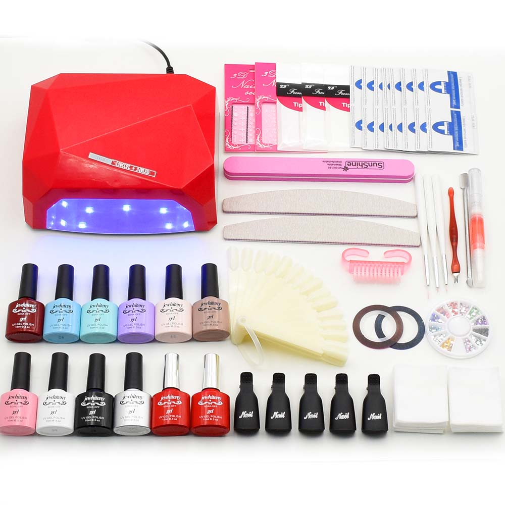 Nail Art Set Soak Off UV Gel Polish 10 colors Manicure set Curing LED Lamp dryer & base top Set nail gel nail tools kit new 24w professional uv led nail gel 9c lamp of resurrection nail polish tools and portable five soaked nail gel art set