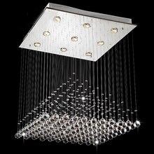 Современная Волна K9 Кристалл, Висящий Провод Мяч Площади Подвеска Лампа Светильник Rain Drop Занавес Люстра Стекла Свет