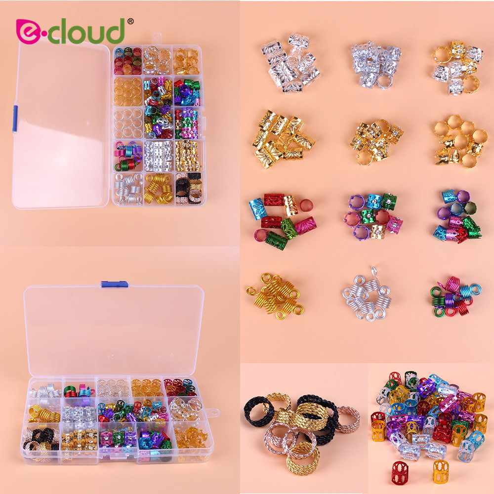 adjustable hair cuff braids 50pcs 100pcs pink red green blue purple silver gold dreadlock rings hair beads for braids for girls New Arrival 159pcs/box Aluminum Hair Tube Rings for Braids Different Metal Hair Beads Dreadlocks Clips Hairstyle Tools Accessory