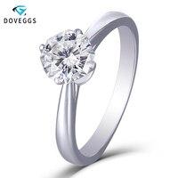 DovEggs Moissanite Engagement Ring Solid 14K White Gold Center 1ct 6mm Octagon F Color Moissanite Diamond Ring for Women