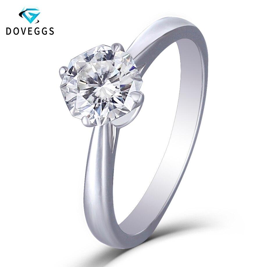 DovEggs Moissanite bague de fiançailles solide 14K or blanc Center 1ct 6mm octogone F couleur Moissanite bague en diamant pour femmes