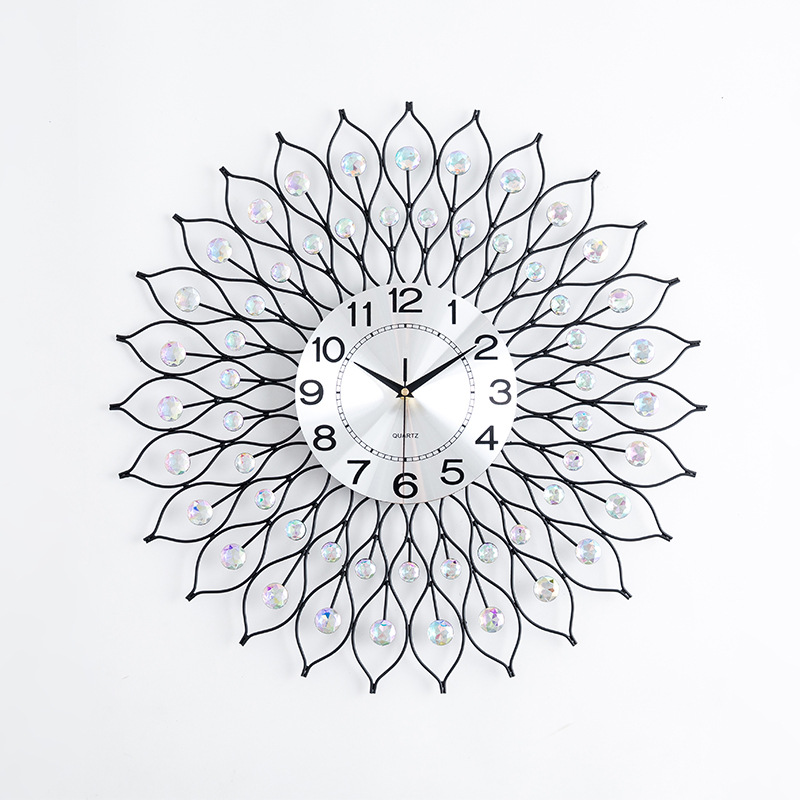 European Large Wall Clock Modern Design Living Room Decoration Crystal Diamond & Metal Clocks Wall Watch Home Decor Silver 60cm