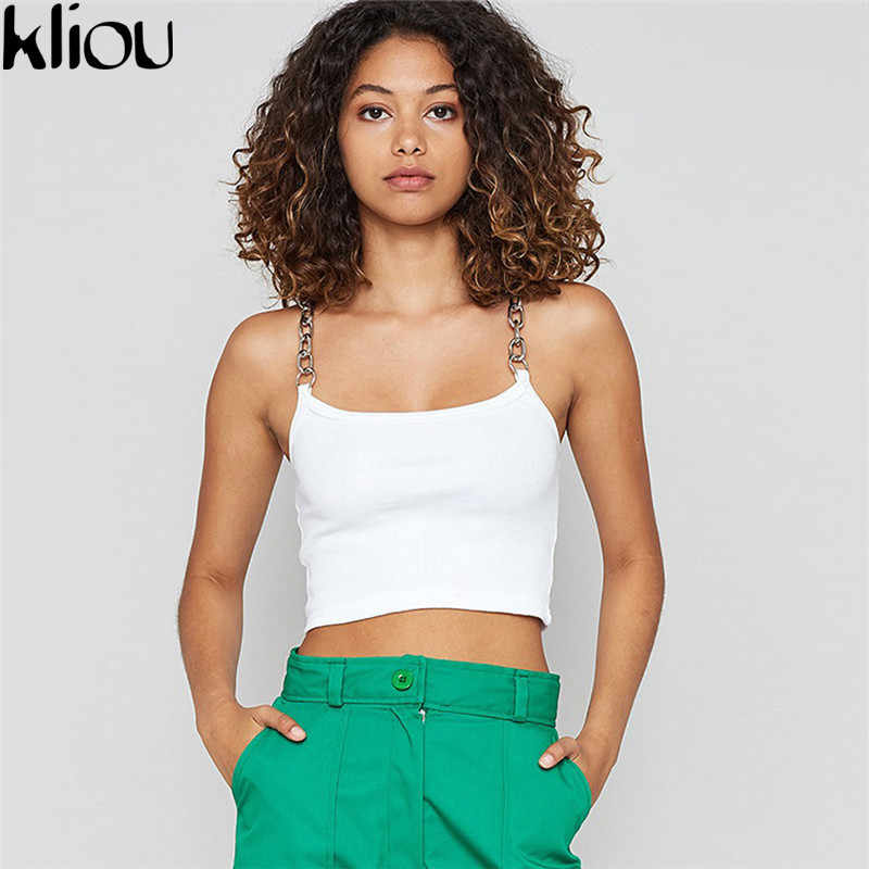 Kliou women simple solid color metal chain camis 2018 new fashion sexy short tank tops female workout party club crop top tees