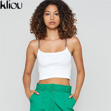 6c37e51752da2e Kliou women simple solid color metal chain camis 2018 new fashion sexy  short tank tops female workout party club crop top tees