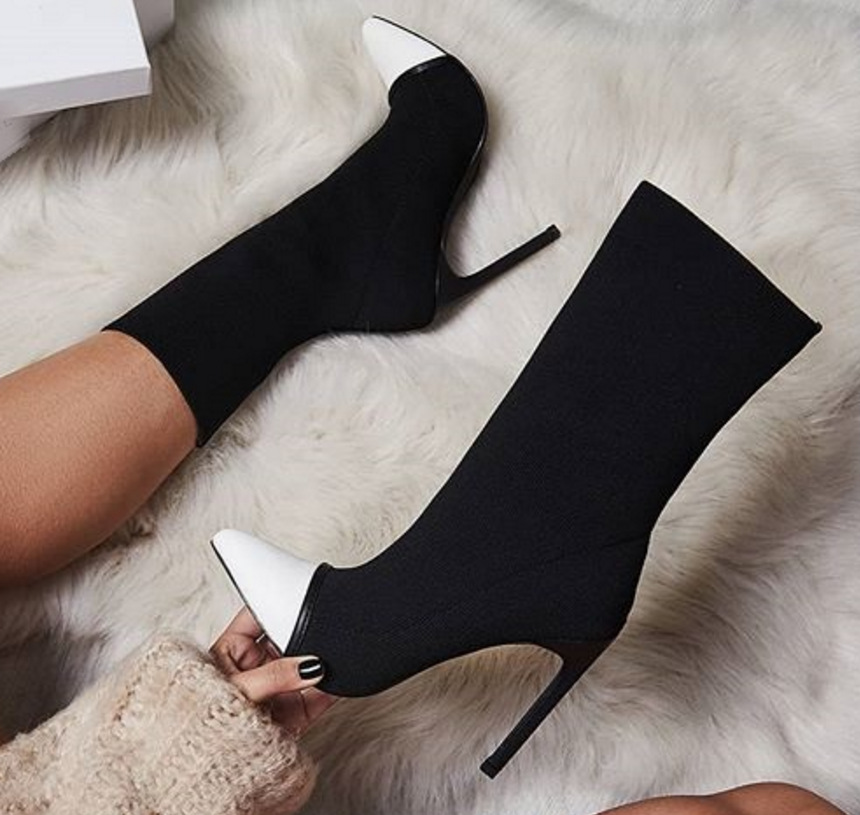 Large Size Women's Designer Boots Lady Pointed Stretch Fabric Color Matching High Heel Boots