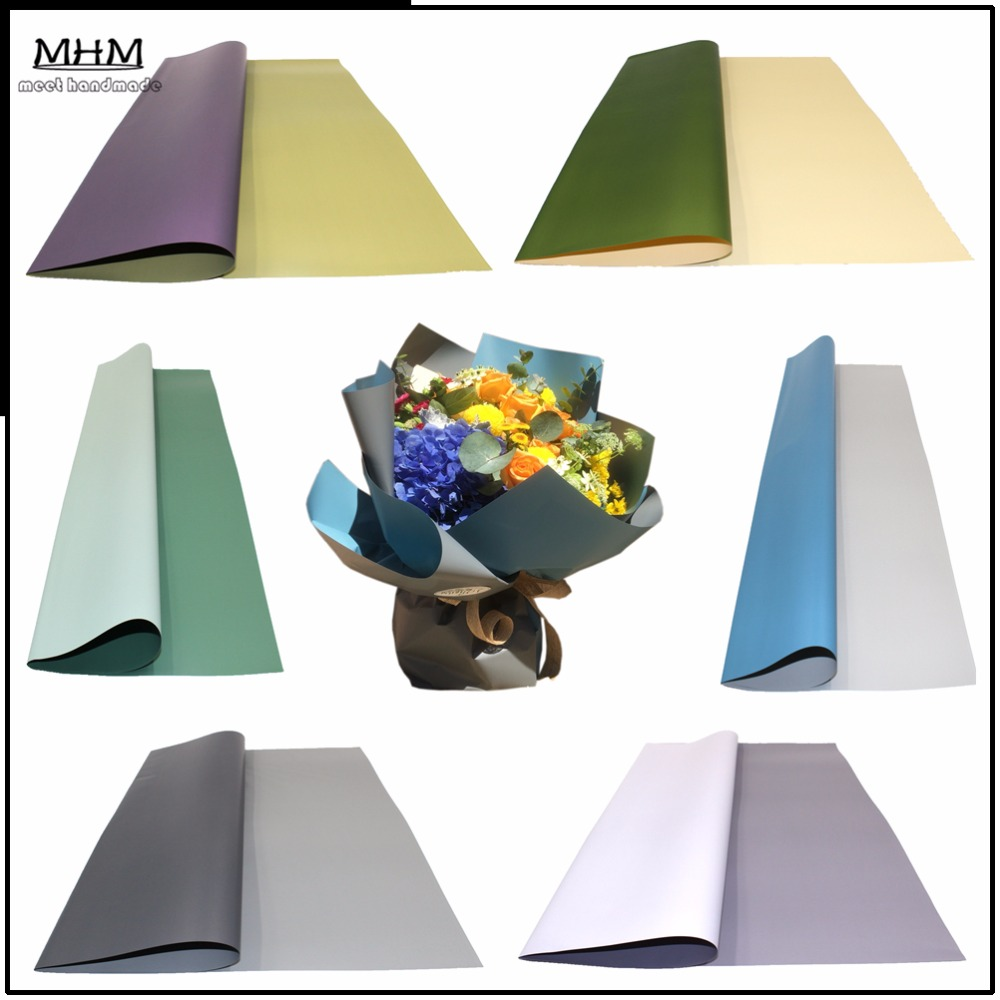 10pcs korean flowers two tone paper packaging gift wrapping neutral color florist wrapping paper flower bouquet supplies in craft paper from home garden