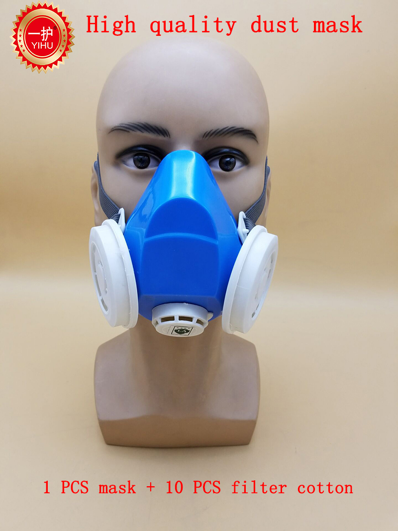 high quality respirator dust mask Efficient Anti-static filter cotton dust mask PM2.5 smoke industrial safety respiration mask silicone abs dust filter respirator mask dark grey