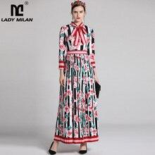 سيدة ميلان المرأة موضة المدرج فساتين طويلة الأكمام الأزهار المطبوعة مطوي مصمم عادية ماكسي ثوب أنيق
