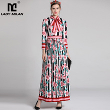Lady Milan 2019 Women's Fashion Runway Dresses Long Sleeves Floral Printed Pleated Casual Designer Maxi Elegant Dresses
