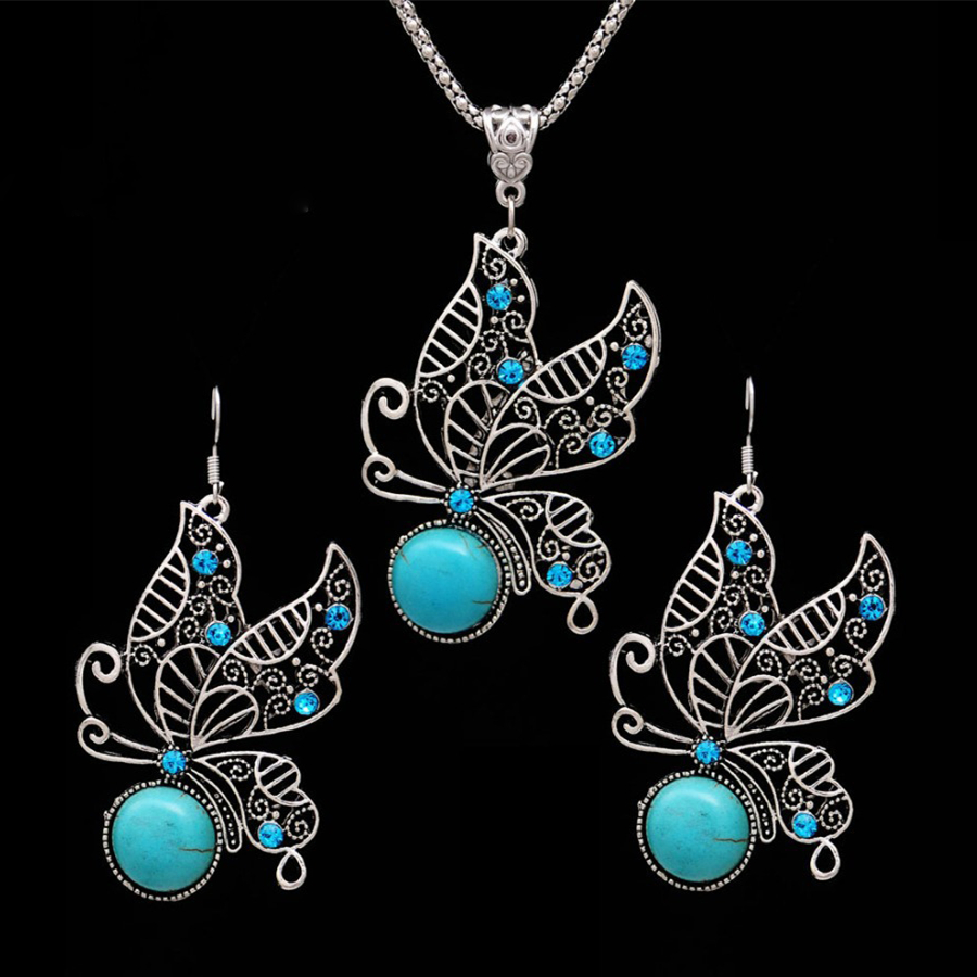 Fashion Crystal Butterfly Jewelry Sets for Women Necklace Earrings Indian African Beads Jewelry Sets Boho valentines day gift