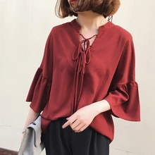 Fashion Flare Long Sleeve Blouse Women V Neck Lace UP Ladies Chiffon Blouses Korean Loose Casual Solid Tops Clothing Shirts