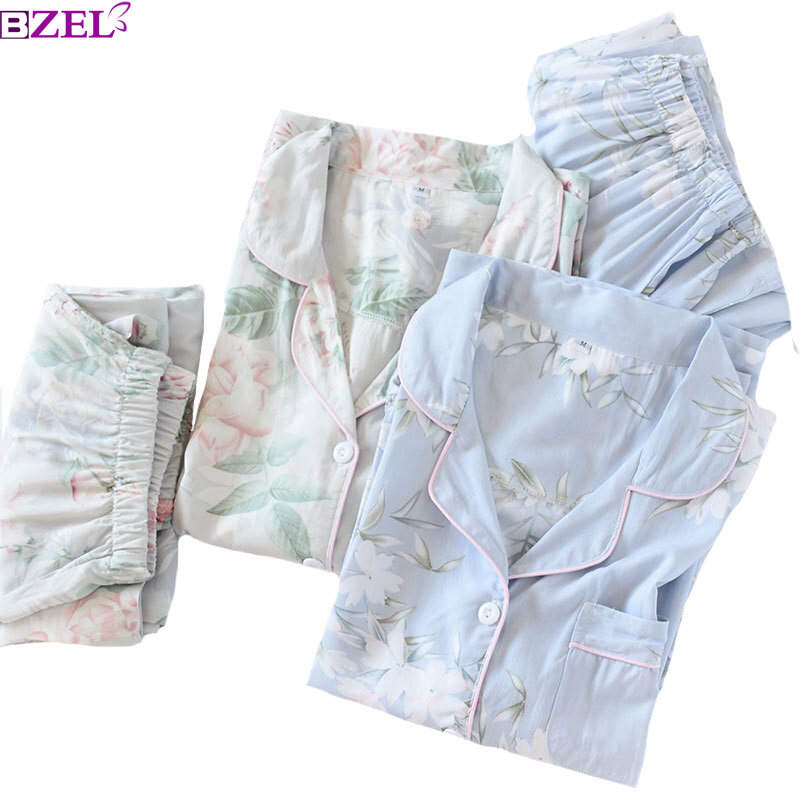 2019 Spring New Ladies Pajamas Set Floral Printed Soft Sleepwear Cotton Simple Style Women Long Sleeve+Pants 2Piece Set Homewear