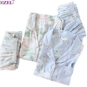 Image 1 - 2020 Spring New Ladies Pajamas Set Floral Printed Soft Sleepwear Cotton Simple Style Women Long Sleeve+Pants 2Piece Set Homewear
