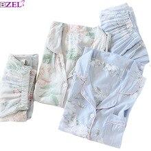 2020 frühjahr Neue Damen Pyjamas Set Blumenmuster Weiche Nachtwäsche Baumwolle Einfache Stil Frauen Lange Hülse + Hosen 2 Stück set Homewear