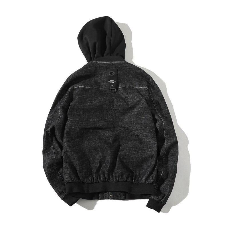 Loldeal Mens Autumn Hooded Cotton Denim Jeans Casual Jacket Coat Short Male Coats Hoodies Streetwear Hip Hop Clothing
