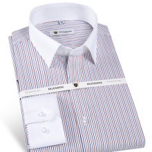 Men's Non Iron Slim Fit Long Sleeve Striped Dress Shirt with Patchwork Collar 100% Cotton Male Formal Business Office Shirts