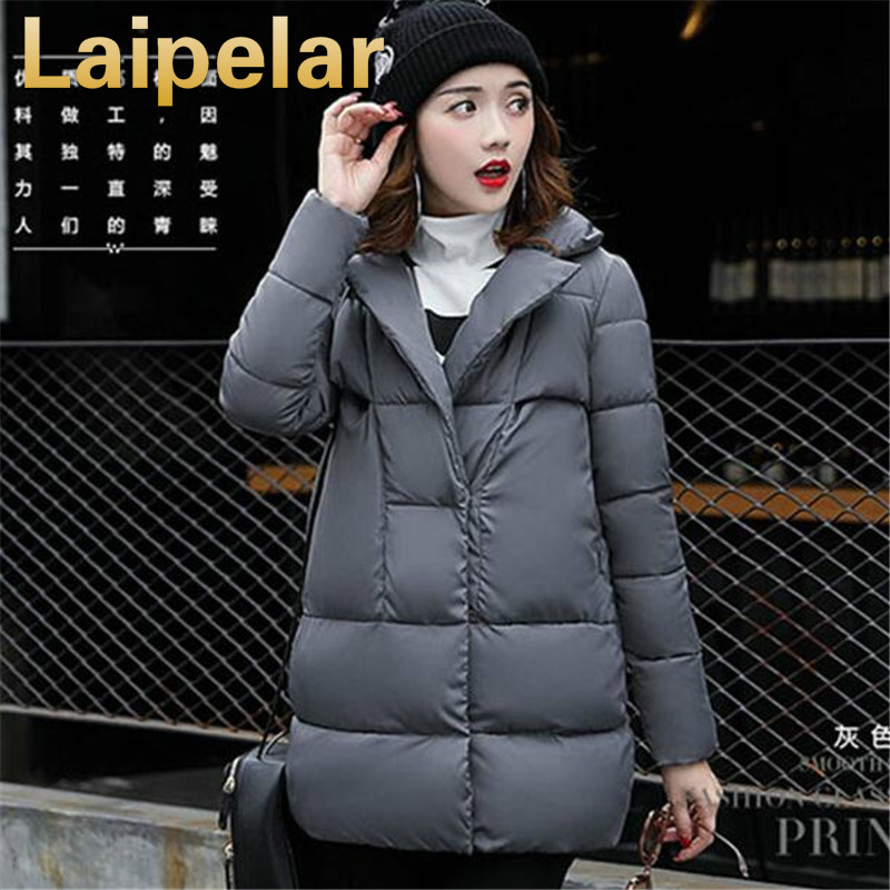 2018 Fashion Cotton Padded Jacket Long Style Hood Slim   Parkas   Plus Size Thicken Female Outerwear Laipelar Winter Cotton Coat