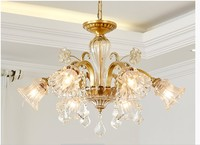 Free Shipping Copper Crystal Chandelier Brass Hanging Lamp Luxurious E14 AC LED Brass Crystal Lamp Lustre Suspension Lighting