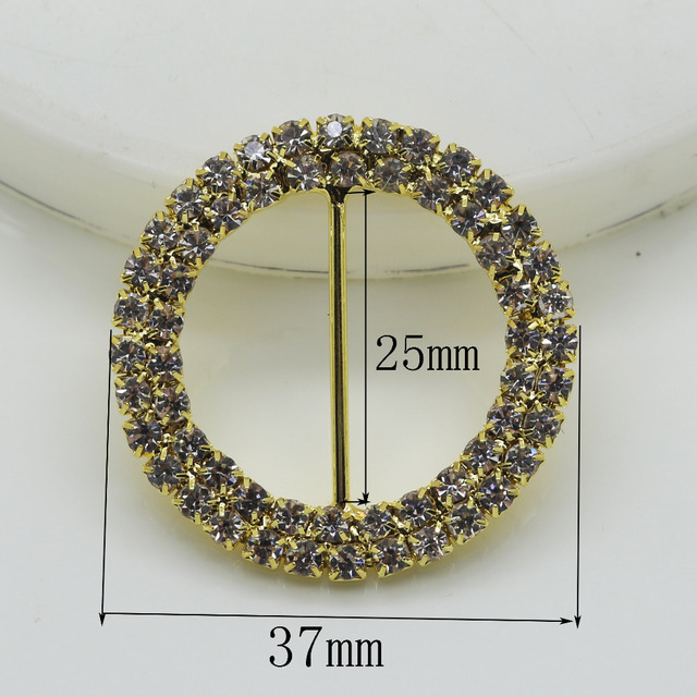 Shiny 10pc Round 37MM Golden Rhinestone Buckles Diamante Ribbon Slider  Wedding Invitation card Decoration buckles metal crystal d6e9df2f343a