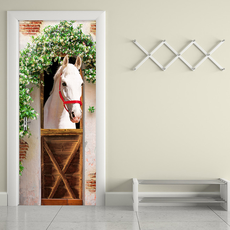 Modern Creative Door Sticker 3D Wallpaper White Horse Living Room Bedroom Wall Sticker PVC Self Adhesive Waterproof Home Decor