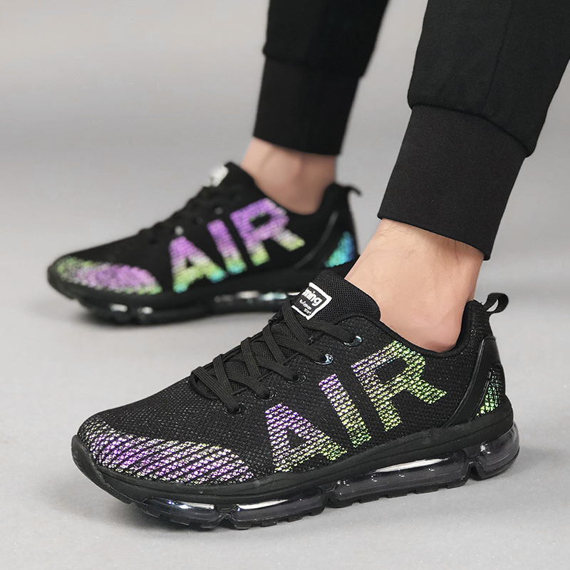 Onke Reflective Sneakers for Men Music Rhythm Women Running Shoes Breathable Sports Man Sneaker Wear Resistance Gym Trainers new 3 color running shoes for men breathable running shoes men sports sneakers max running sneakers for men 8038