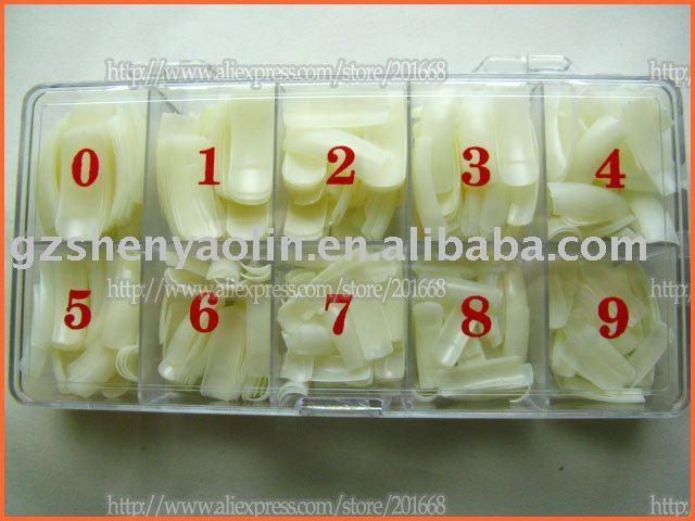 Free shipping - 500pcs Natural False Nail Tips Acrylic Artificial Half Nail Tips BOX