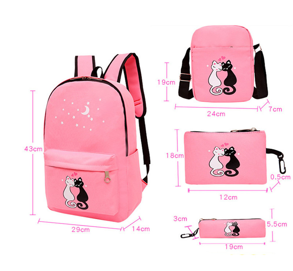4pcs/set Women Backpack Cat Printing Canvas School Bags For Teenager Girls Preppy Style Rucksack Cute Book Bag Mochila Feminina #2