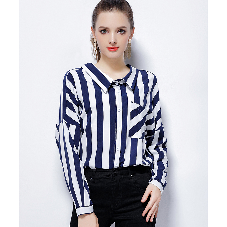 blusas striped shirt women tops casual blouses Pockets shirts long sleeve blouse top blusas mujer de moda 2017 chemise femme