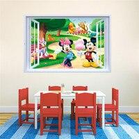 50 шт./упак. Микки и Минни Маус 3D стикер на окно детская художественная наклейка Deco