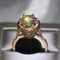 Vecalon ювелирные изделия ручной работы сверкающие стерлингового серебра 925 пробы однотонный цвет розовое золото Круглые Яйца голубя 5A прозра