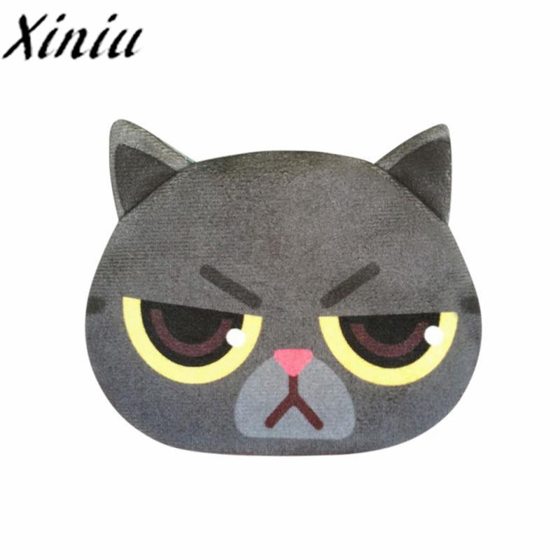 Xiniu Women Cute Print Cat Face Girls Coin Plush Purse ears female Girl animal Printing Coins Change Child Purse Key Bags #WS