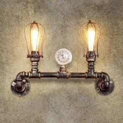 Loft stylu żelaza podwójne wody rury lampy Edison kinkiet ścienny antyczne ściany światła oprawy oświetleniowe dla domu zabytkowe oświetlenie przemysłowe w Lampy ścienne od Lampy i oświetlenie na