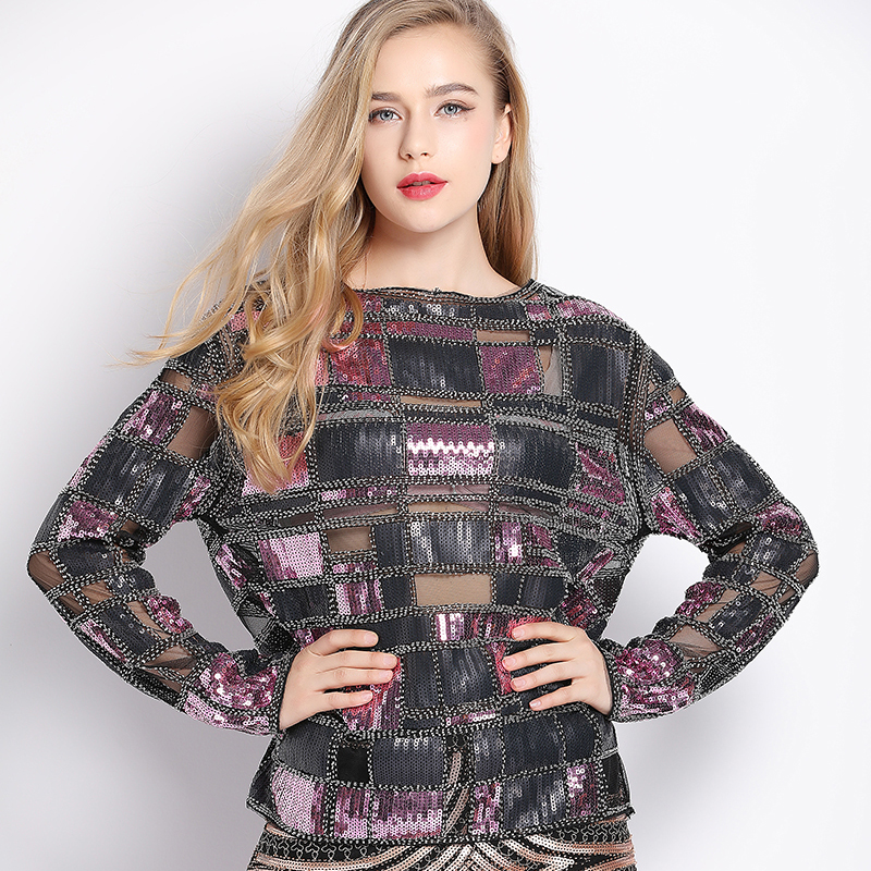 Women Embellished Sequin Beaded Lace Mesh Check Shirt Embroidery Long Sleeve  Plaid Blouse Top Tunic See b66ba0ccb1cc