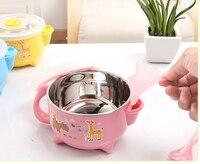 Wholesale Stainless Steel Baby Tableware Pink Blue Yellow Carton Deer Rhino Bear Baby Kids Tableware With