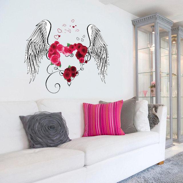 Online Shop Love Angel Wings Wall Sticker Bedroom Festival Wll ...