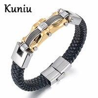 Fashion Stainless Steel Leather Silver Gold Plated Men Bracelet Male Vintage Bracelet Jewelry