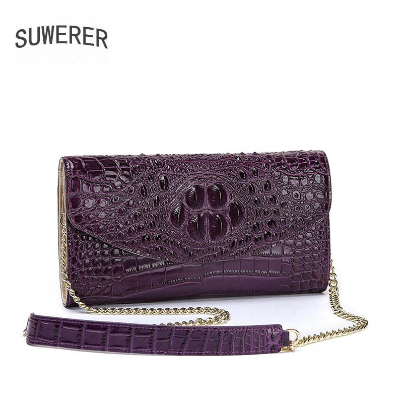 Main En Purple Luxe Messenger Véritable Crocodile red 2018 À Enveloppe Nouvelle black De Cuir Sac SHWxpqWE
