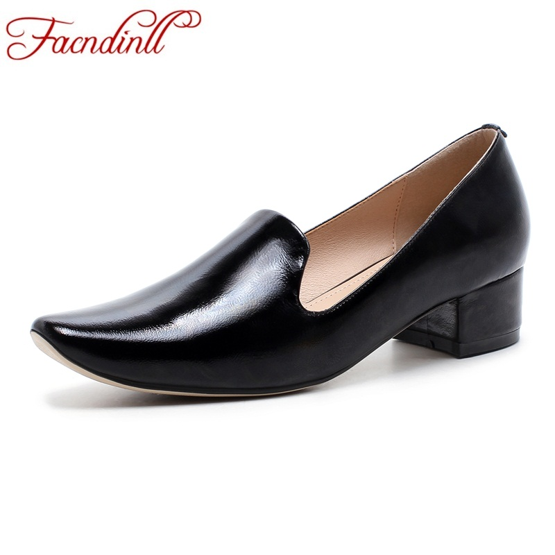 FACNDINLL new 2018 spring autumn women pumps shoes med heels round toe black white shoes woman dress party casual shoes pumps facndinll shoes 2018 new fashion genuine leather women pumps med heels pointed toe shoes woman dress party casual black pumps