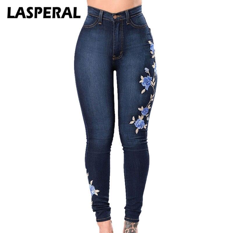 Lasperal цветок вышитые Джинсы для женщин брюки Для женщин эластичные MOM Jean карандаш джинсовые брюки женские сексуальные узкие Панталон внизу брюк