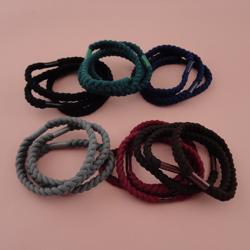 20PCS 7mm Wide Assorted Colors flat three cords Braided Elastic Ponytail holders Hair bands,nylon hair ties,wholesales