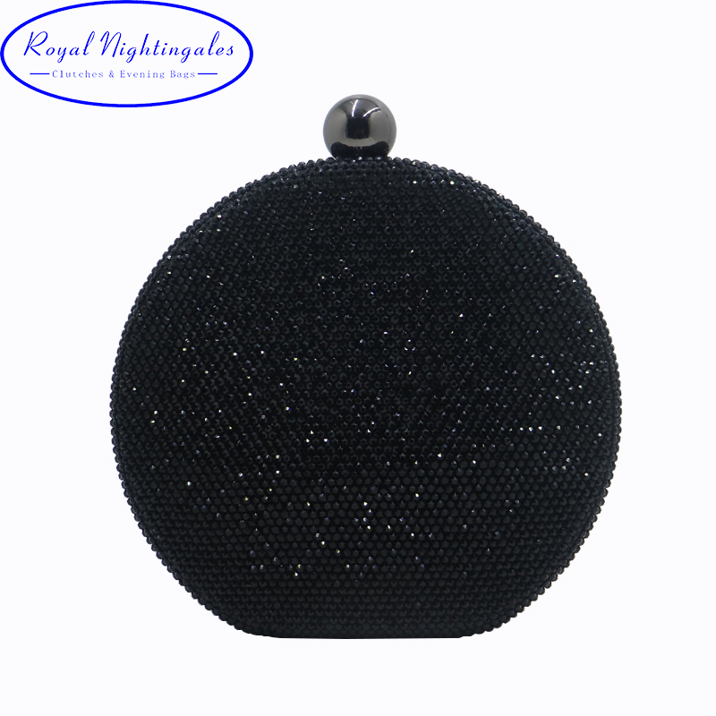 Factory Direct Selling Wholesale Big Round Hard Case Crystal Box Clutch Bag Evening Bags Black Gold