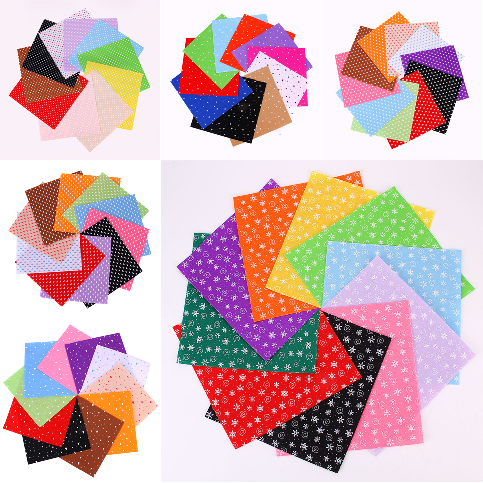 7 Styles Printed Felt Fabric Dot, Snow, Feet, Cloud, Rain, Heart, Star Pattern Bundle DIY Non-woven Felt Cloth Mix 10 Colors/Set