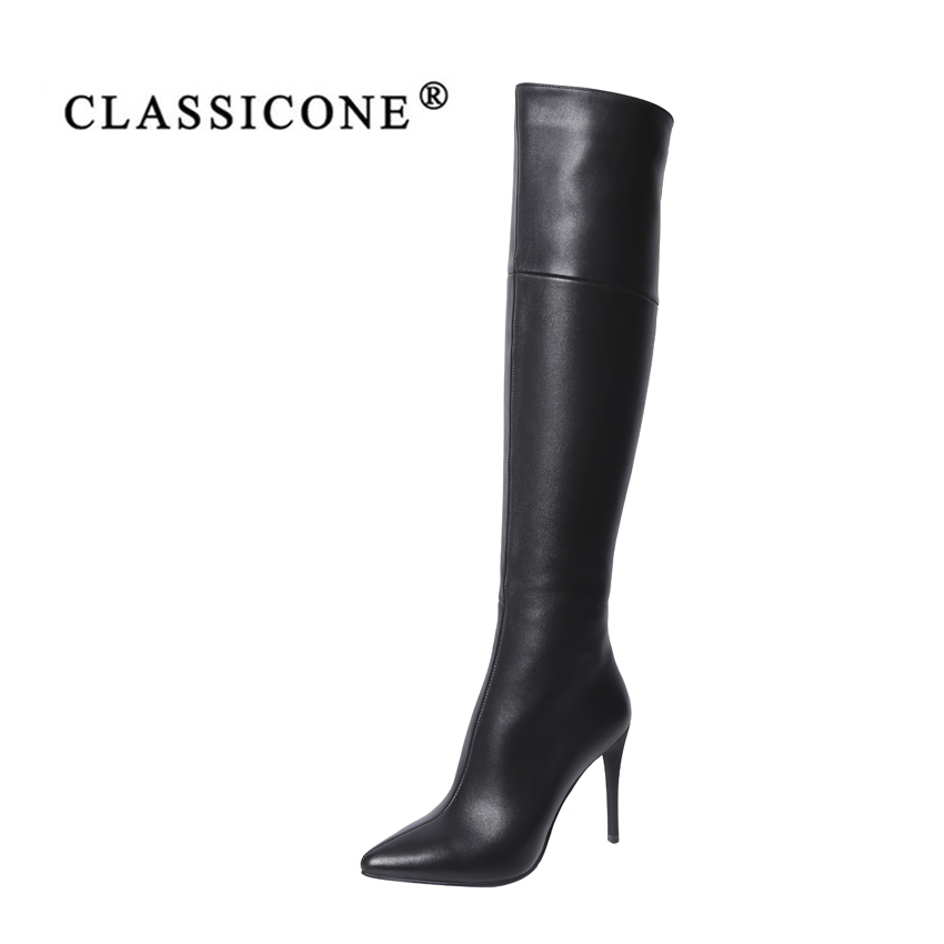 CLASSICONE 2019 Woman shoes women 39 s knee high boots spring autumn genuine leather black pumps brand fashion luxury style sexy in Knee High Boots from Shoes