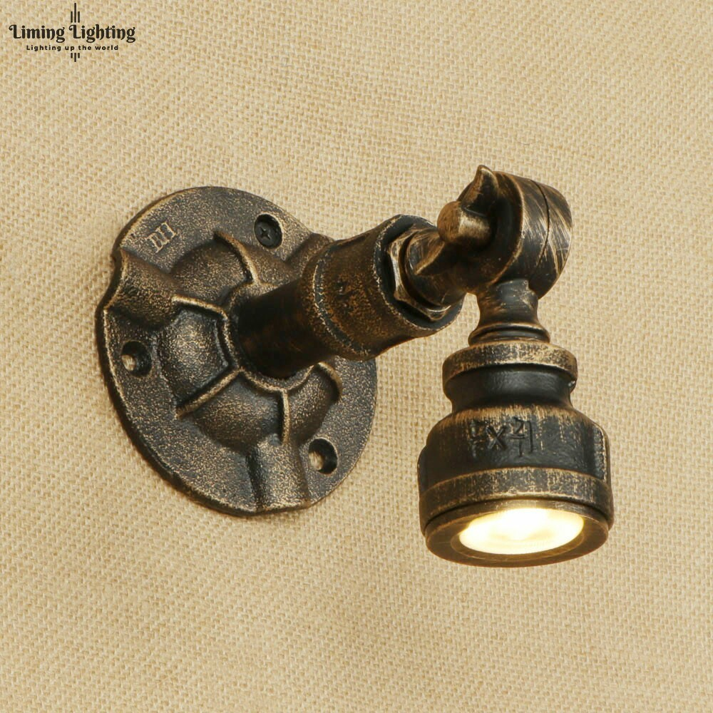 Retro Iron Water Pipe Wall Lamp Art Deco Country Adjustable Wall Light 110V 220V Led Lights