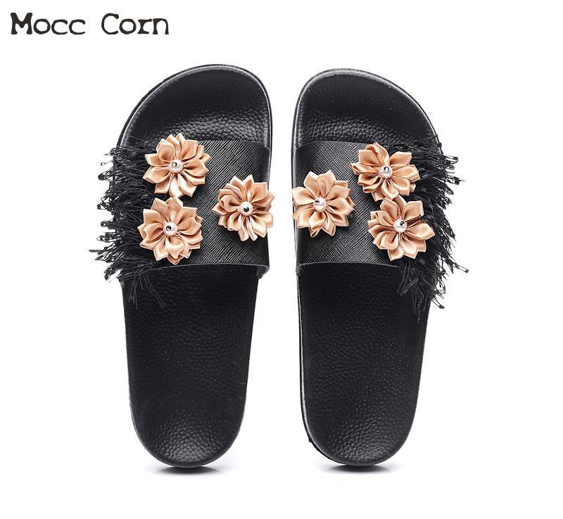 Women Summer Home Slippers Flip Flops Peep Toe Sandals tassel flower Platform Thick Bottom Beach Flip Flops lady Zapatos Mujer