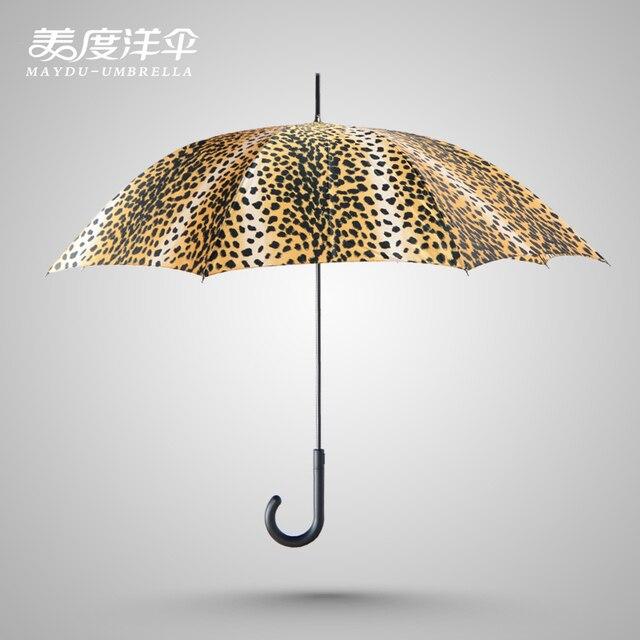 0f6eaefb0 Leopard Print Quality MayDu Stick Umbrella long crook handle high-grade  fused material windproof umbrella
